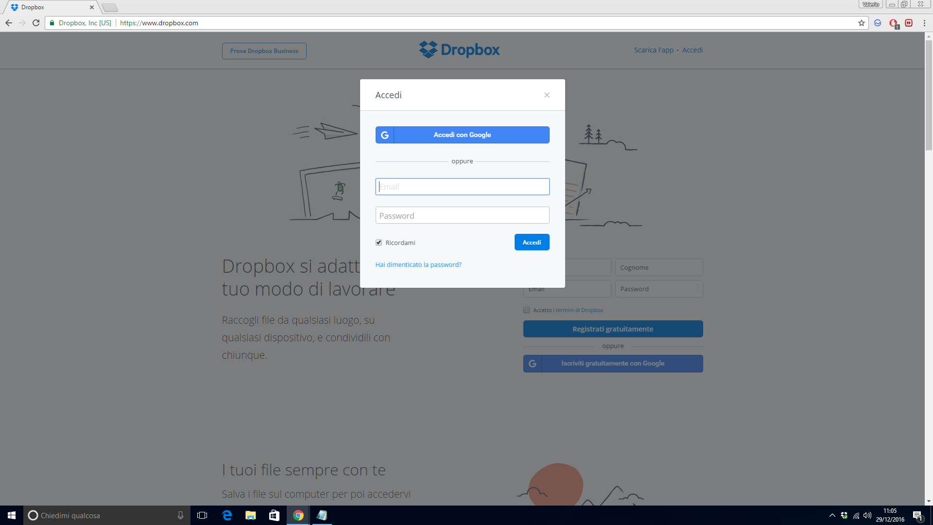 Registrarsi a DropBoX