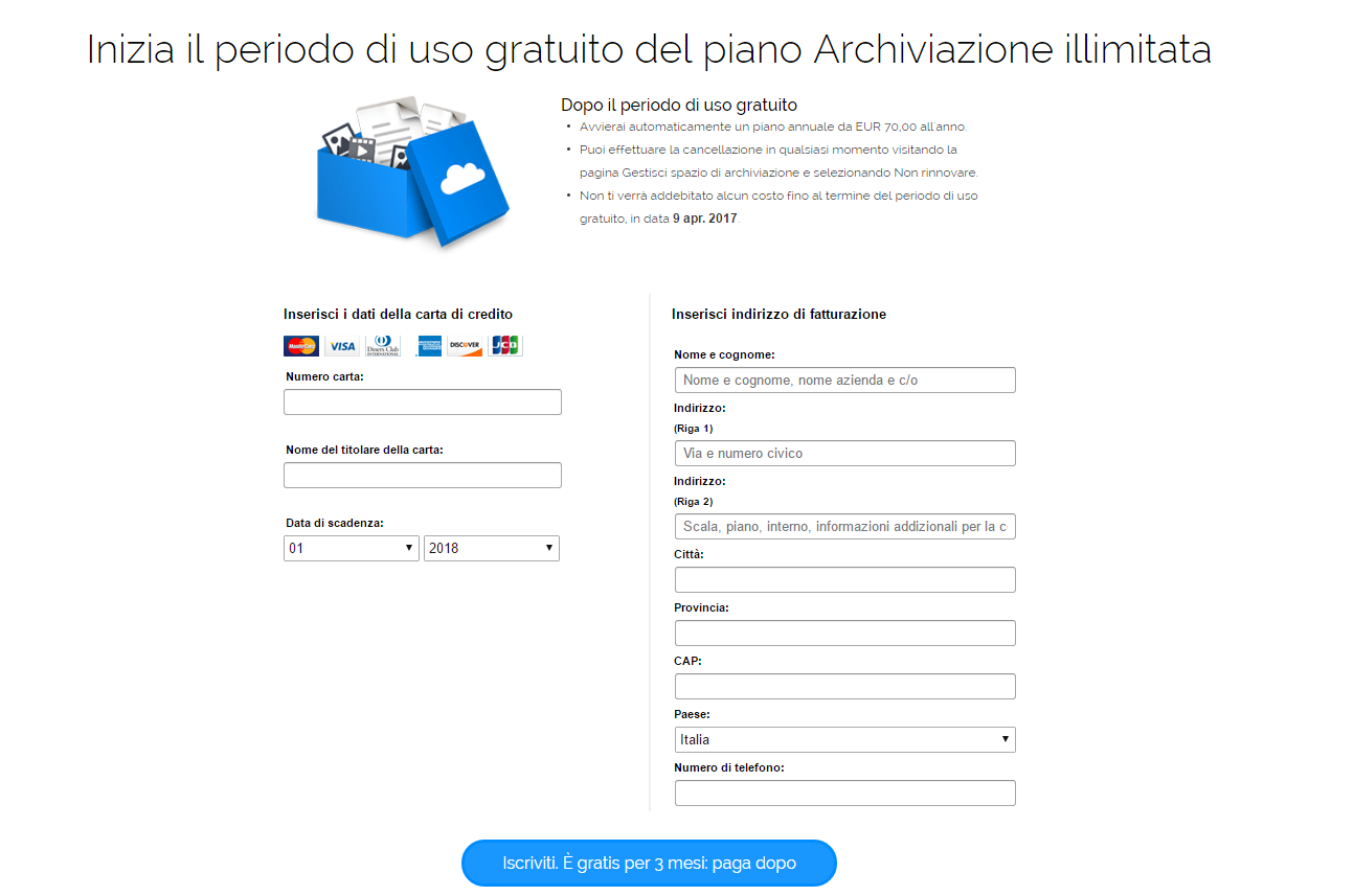 creare un account amazon drive