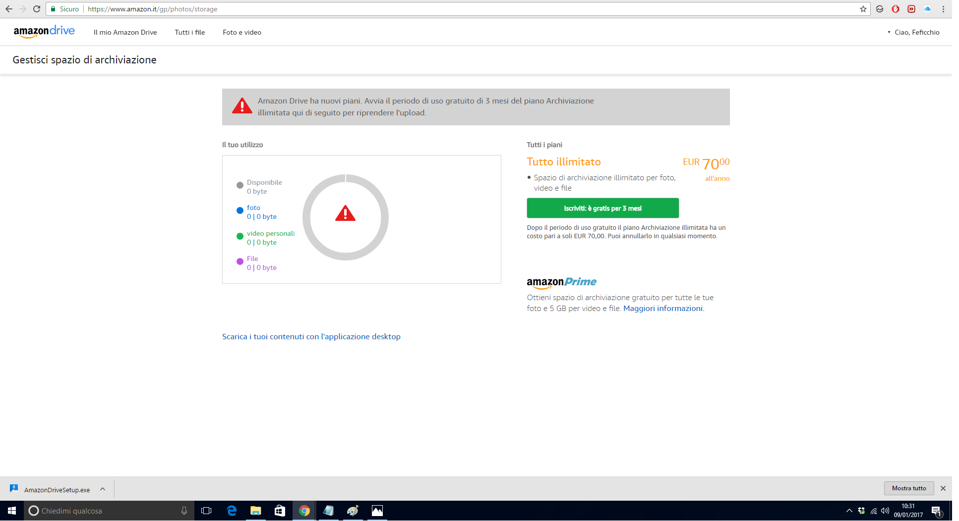 screenshot creazione account amazon cloud drive