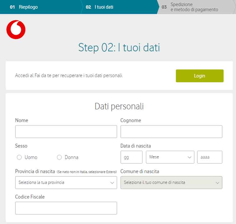 passa a vodafone internet mobile
